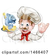 Cartoon White Male Chef Gesturing Ok And Holding A Fish And Chips On A Tray