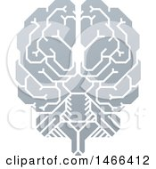Gray Human Brain With Electrical Circuits