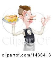 Clipart Of A White Male Waiter With A Curling Mustache Holding A Hot Dog And Fries On A Platter And Gesturing Ok Royalty Free Vector Illustration