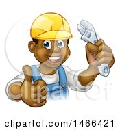 Clipart Of A Cartoon Happy Black Male Plumber Holding An Adjustable Wrench And Giving A Thumb Up Royalty Free Vector Illustration