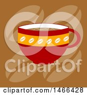 Clipart Of A Red Coffee Cup Over Beans Royalty Free Vector Illustration