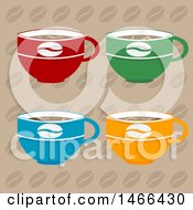Clipart Of A Colorful Coffee Cups Over A Bean Pattern Royalty Free Vector Illustration by elaineitalia