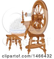 Clipart Of A Vintage Spinning Wheel And Wool Royalty Free Vector Illustration