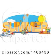 Clipart Of People Doing Activities Around The Word SUMMER Royalty Free Vector Illustration