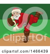 Clipart Of A Christmas Santa Pitching A Baseball Royalty Free Vector Illustration by David Rey