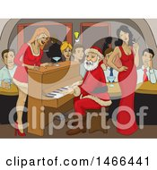 Clipart Of A Christmas Santa Playing A Piano At A Bar Royalty Free Vector Illustration