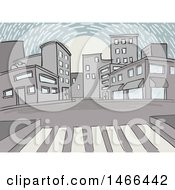 Clipart Of A Sketched Citywalk And City Street At Sunset Royalty Free Vector Illustration