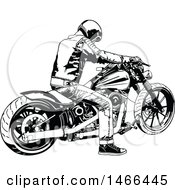 Clipart Of A Black And White Biker On A Motorcycle Royalty Free Vector Illustration by dero