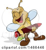 Lightning Bug Laughing And Holding A Crayon