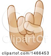 Clipart Of A Hand Emoji Gesturing The Sign Of The Horns Royalty Free Vector Illustration