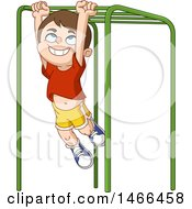 Clipart Of A Happy Boy Playing On Monkey Bars Royalty Free Vector Illustration