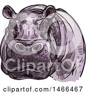 Clipart Of A Sketched Hippo Royalty Free Vector Illustration by Vector Tradition SM