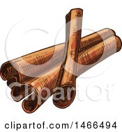 Clipart Of A Sketched Spice Cinnamon Sticks Royalty Free Vector Illustration