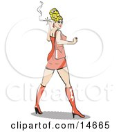 Sexy Blond Bombshell Woman Wearing A Tight Orange Dress Looking Back And Smoking A Cigarette Clipart Illustration by Andy Nortnik