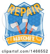 Clipart Of A Hatchet Shield Design With Text Royalty Free Vector Illustration