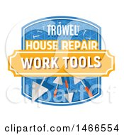 Clipart Of A Trowel Shield Design With Text Royalty Free Vector Illustration
