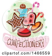 Clipart Of A Cookie Or Biscuit Design With Text Royalty Free Vector Illustration