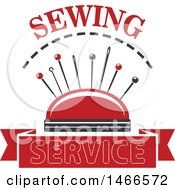 Clipart Of A Sewing Pin Cusion And Needles Design Royalty Free Vector Illustration