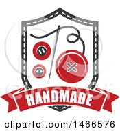 Clipart Of A Sewing Needle And Buttons Shield Design With Handmade Text Royalty Free Vector Illustration