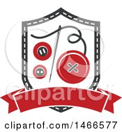 Clipart Of A Sewing Needle And Buttons Shield Design Royalty Free Vector Illustration