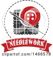Clipart Of A Sewing Needle And Button Shield Design With Needlework Text Royalty Free Vector Illustration