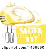 Clipart Of A Hand Mixer And Shake It Text Design Royalty Free Vector Illustration