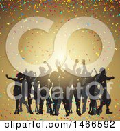 Clipart Of A Group Of Silhouetted Dancers With Colorful Confetti Over Gold Royalty Free Vector Illustration