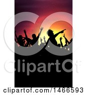 Group Of Silhouetted Dancers Over Halftone Lights