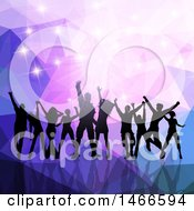Group Of Silhouetted Dancers Over Purple Low Poly And Sparkles