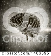 Clipart Of A 3d Human Brain Over Dna Strands Royalty Free Illustration