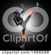 Clipart Of A 3d Anatomical Woman With Red Highlighted Knee Joints Kickboxing On A Dark Background Royalty Free Illustration