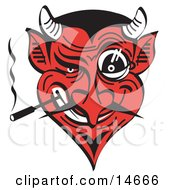 Evil And Greedy Devil With A Red Face Smoking And Grinning Clipart Illustration
