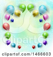 Clipart Of A Border Of 3d Party Balloons Over Watercolor And Stars Royalty Free Vector Illustration