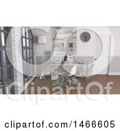 Clipart Of A 3d Modern Office Interior With Big Windows Royalty Free Illustration