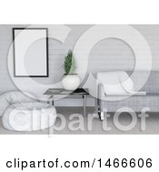 Clipart Of A 3d White And Gray Room Interior Royalty Free Illustration by KJ Pargeter