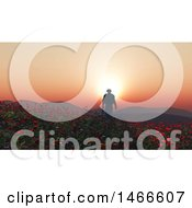 3d Soldier Walking Through A Poppy Field At Sunset