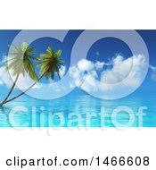 3d Seascape With Palm Trees Under A Blue Sky With Clouds