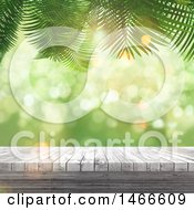 Clipart Of A 3d Wood Surface Over Green With Palm Branches Royalty Free Illustration
