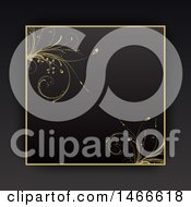 Poster, Art Print Of Black And Gold Floral Vine Border On A Dark Gray Background