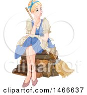 Poster, Art Print Of Woman Cinderella Sitting And Daydreaming