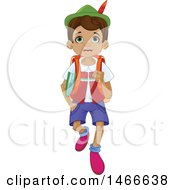Clipart Of A Wooden Puppet Boy Pinnochio Walking To School Royalty Free Vector Illustration by Pushkin