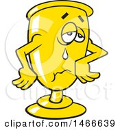 Clipart Of A Crying Trophy Wait Till Next Year Royalty Free Vector Illustration by Johnny Sajem
