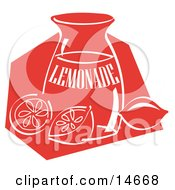 Jar Of Lemonade And A Sliced And Whole Lemon Resting On The Counter Clipart Illustration