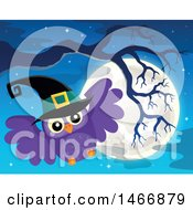 Clipart Of A Witch Owl And Full Moon Royalty Free Vector Illustration by visekart
