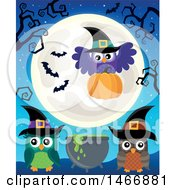 Clipart Of A Group Of Witch Owls With A Cauldron And Pumpkin Under A Full Moon Royalty Free Vector Illustration by visekart