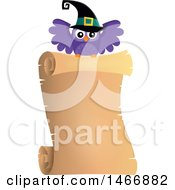 Clipart Of A Witch Owl With A Parchment Scroll Royalty Free Vector Illustration