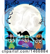 Clipart Of A Group Of Witch Owls Under A Full Moon Royalty Free Vector Illustration by visekart