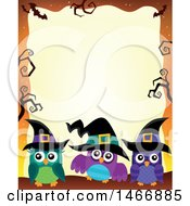Clipart Of A Group Of Witch Owls In A Halloween Border Royalty Free Vector Illustration by visekart