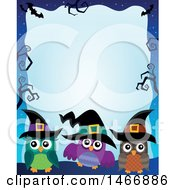 Clipart Of A Group Of Witch Owls In A Halloween Border Royalty Free Vector Illustration