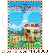 Clipart Of A Horse And Foal School Diploma Royalty Free Vector Illustration by visekart